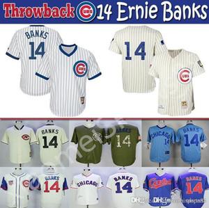 Para mujer para hombre de Jóvenes niños cachorros de color multi alta calidad jersey de punto 14 Ernie Banks Throwback Jerseys jugadores de béisbol