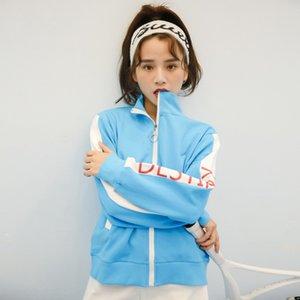 South Korea East Gate new letter stand collar long sleeve cardigan zipper women's Zipper sweater sweater Women's