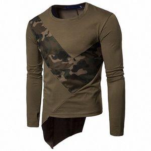 Kamuflaj Kasetli Tasarım Tshirts Mens Mürettebat Yaka Uzun Kollu T-shirt İlkbahar Sonbahar Casual Slim Hommes T Shirts HXVV #