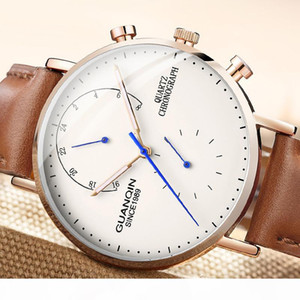 GUANQIN design Genuine Leather Watches Men Top Brand NEW Men Sports Clock Sapphire Analog waterproof Mens Quartz Wrist Watches