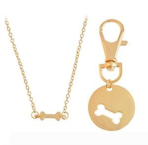DHL 2pcs set Gold Silver Color Dog Bone Matching Best Friends Charm Necklace&Keychain BFF Bones Friendship Pet Dog Lover Jewelry NN