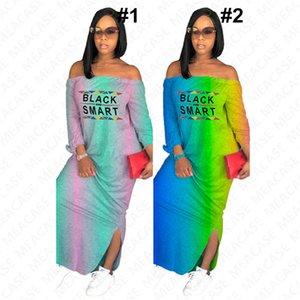 2020 Black Smart letter print women design long dress summer gradient color shoulderless maxi dresses off shoulder Split beach dress D7613