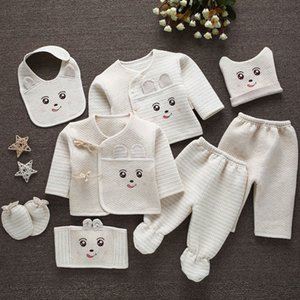EE BABAY 8pcs set Newborn Winter Clothes Baby Warm Cotton Girls Boys Cartoon Suits Infant kids Clothing Good Quality