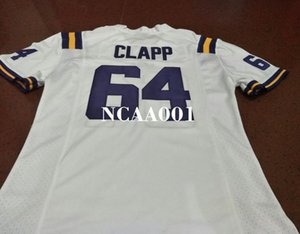 Men #64 Will Clapp White purple SIZE S-4XL LSU Tigers or custom any name or number Alumni College Jersey
