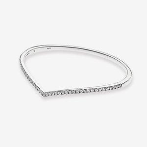 Frauen funkelnde Wishbone Armreif CZ Diamant-Hochzeit Geschenk für Pandora 925 Sterlingsilber-Armbänder mit ursprünglichem Kasten
