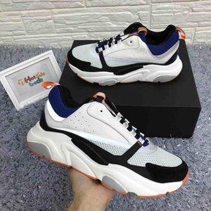 B22 Sneaker In Blue Orange Knit Designer Women Men Casual Shoes hococal Luxury Calfskin Leather Platform B22 Sneaker Low Cut Lace-Up Shoes