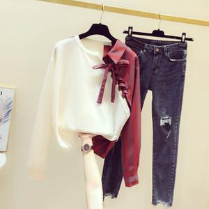 Spring New Suit Stitching Irregular Striped Shirt Casual Long-Sleeved Upper Garment Denim Two-Piece Women