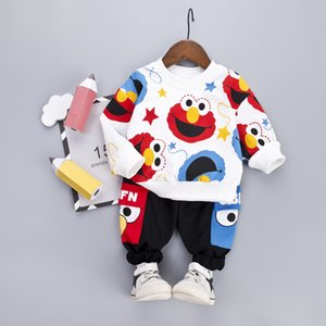 Cartoon Kleinkind-Säuglingsbaby-Kleidung stellt T-Shirt + Hosen Baumwolle mit langen Ärmeln Outfits Set Gelb Weiß Kleinkind-Jungs Kleidung