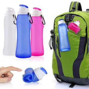 500ml Silicone Folding Sport Water Bottle Reusable Drink Carrier With Hook For Outdoor Hiking Picnics Riding Water Bottle