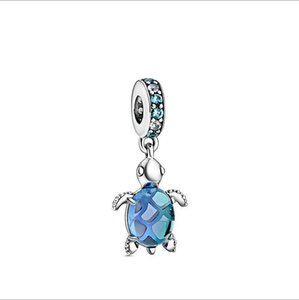 925 Sterling Silver Estate Mare Collezione Murano Glass Turtle ciondola branello di fascino Adatto europea Pandora Jewelry Charm Bracciali