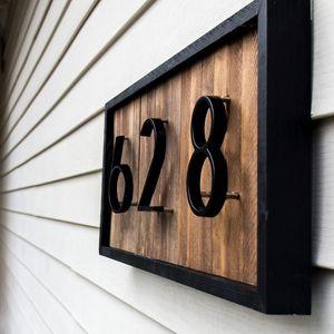 12CM كبيرة 3D البيت الحديث عدد الأبواب عنوان المنزل أرقام لمجلس النواب عدد الباب الرقمية في الهواء الطلق لوحات تسجيل 5 بوصة. # 0-9 الأسود