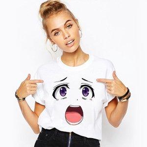 Big Size Newest Girls Summer Creative Funny Cartoon Big Eyes 3D Print T-Shirt Causal Short Sleeve Crew Neck Tops Cute White Tops Comfort