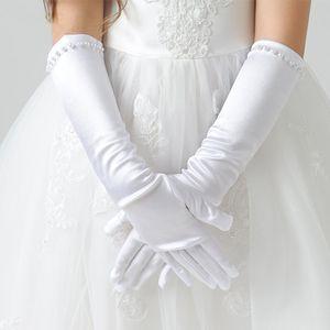 Ivory Kids Girls Wedding Flower Girl Finger Gloves Long Satin Pearl Decor Dress Gloves for Kids Wedding Evening Party