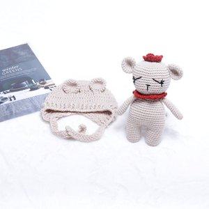 حديثي الولادة صورة يدويا الدب محبوك شكل كأب الطفل الدعامة لعبة محبوك مجموعة التصوير الفوتوغرافي الدعائم لطيف الدب لعبة