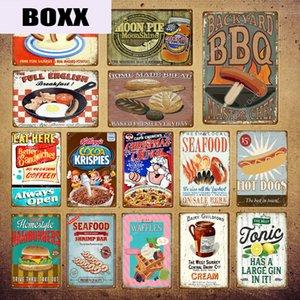 Mangiare cibo barbecue Luna Pie Seafood hot dog Crema hamburger Pane metallo Tin Signs Vintage poster Bar Pub Negozio Home Decor parete YI-023