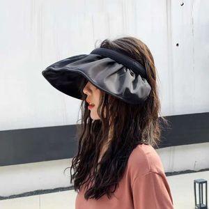 kadın Kore tarzı katlanabilir güneş Toque siperliği kap güneş kremi güneş UV geçirmez kabuk büyük korniş şapka şemsiye şapka gelgit