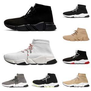 2020 sock shoes lace up men women speed trainer low top triple black white Beige neon red mens fashion sports sneakers jogging walking