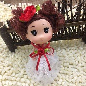 INS 12cm Cat Ears mini Ddung Muñecas Ddgirl Niños Conejo Ojos grandes muñeca de niña vestido de la falda de las muñecas sostenedor del bolso llave-Car Styling juguete