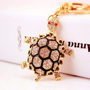Wholesale Creative and lovely diamond inlaid turtle car key chain women's bag accessories turtle key chain animal metal pendant