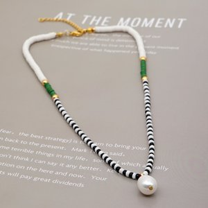 Women Boho Necklaces Multicolored Polymer Clay Natural Pearl Beads Rainbow Stretch Chokers 2020 New Fashion Bohemian Beach Necklaces Jewelry