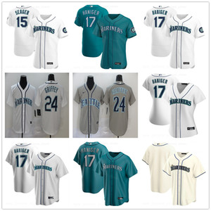 2020 Новый сезон бейсбола 24 Кен Гриффи Джерси Лучшее качество прошитой 17 Митч Haniger 15 Кайл Сигер Белый Дом Аква Alternate Серый Джерси