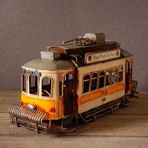 Vintage Tram Retro Tramcar Figurine Diecast Bus Model Streetcar Statue Home Decor Ornament Gift Collection Hobby T200709