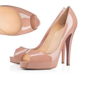 새 빨간 바닥 하이힐 플랫폼 신발은 누드 블랙 특허 가죽 오픈토 여성 드레스 웨딩 샌들 신발 크기 34-45 펌프