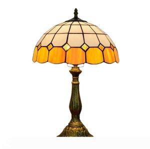 simple, européenne vitrail Tiffany créative lampe de table méditerranéenne chevet chambre orange hôtel bar restaurant lampe en verre TF035