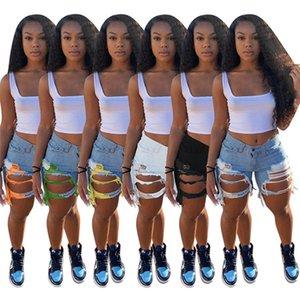 Women designer jeans bodycon shorts denim plus size slim tassel S-3XL ripped new style zipper hole capris summer fashion clothing DHL 3458