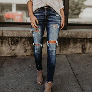 Jeans Slim Jeans Pants New Fashion for women Waist 2020 Boyfriend High Pocket Pencil Ripped fall Cotton Casual Summer Denim