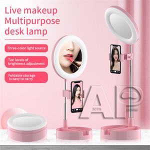 Universale selfie Light Ring con flessibile porta cellulare pigro staffa Desk Lamp luce del LED per Streaming Cucina