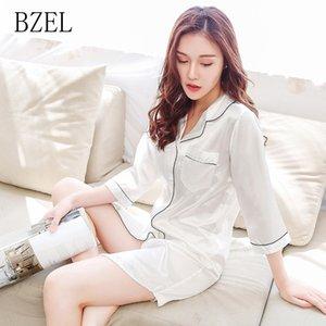BZEL 2020 Nueva Cardigan Mujeres sólido del verano ropa de noche Laides Turn-down Collar de satén camisón elegante de tres cuartos Mujer pijamas