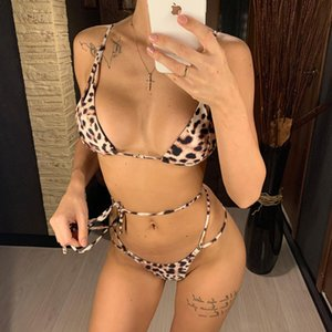2020 Leopard Bikini Women Swimwear Female Swimsuit Two-pieces Bikini set Wrap Around Thong Bather Bathing Suit Swim Lady V1959