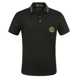 2020 Luxury Europe Paris patchwork men Tshirt Fashion Mens Designers T Shirt Casual Men Clothes medusa Cotton Tee Men's polo Shirts