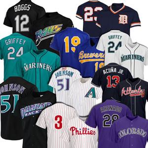 51 Randy Johnson 28 Nolan Arenado 24 Ken Griffey Jr Jersey 12 Wade Boggs 19 Robin Yount 13 Ronald Acuna Jr. baseball pullover