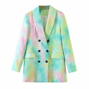 Klacwaya Femmes 2020 Mode double breasted Tie-dye Imprimer Manteau Blazer Vintage manches longues poches Femme d'extérieur Hauts Chic