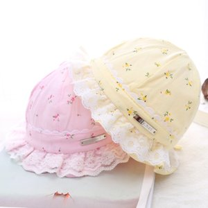 New bucket bucket Lace fisherman cotton floral fresh tire cap lace edge breathable baby sun children's sun hat fisherman hat