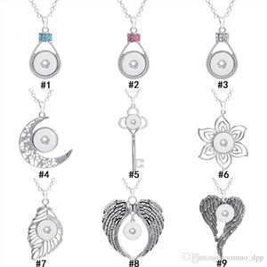 Noosa Chunks 18MM Ginger Snap Button pendant Findings Crystal key flower leaves wings Charm without chain For Jewelry Making in bulk