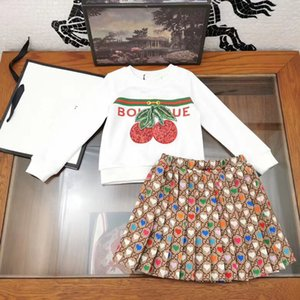 Designer style Kids outfits children sequins cherry embroidered sweatshirt+love heart letter pleated skirts 2pcs sets A3707