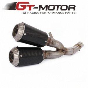 GT Motor - Motos de escape completo stystem tubo de meio + Silenciador para Deslizamento-na dU8T #