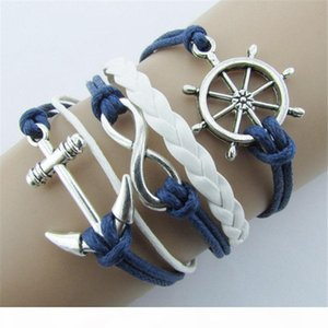 Wholesale-New Silver Bracelets Jewelry Nautical Rudder Anchor Blue Leather Rope Bangle Bracelet A1