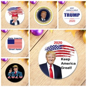 لوازم TRUMP 2020 انتخابات الرئيس الشارات الجمهوري دعم زر دبوس 5.8 * 5.8CM الحصان الفم الحديد شارة YYA302