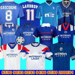 1992 93 Rangers Problème match Ligue des Champions Accueil Shirt Glasgow Rangers 90 92 Retro Maillot de football 94 96 97 99 Rangers Gascoigne maison bleu 8
