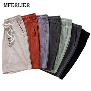 MFERLIER Linen Summer Shorts men size M-9XL Casual men shorts for weight 40-140kg