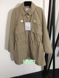 high end women girl silk lining midi windbreaker coat double zipper letter button multi pocket drawstring blouse 2020 fashion design tops