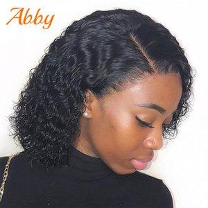 Volle Spitze Curly Bob Perücken indische Spitze Frontal-Menschenhaar-Perücke 150% Dichte PrePlucked Versaute Curly Short Bob Perücken Abby Haar