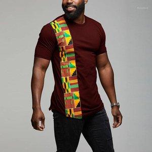 T-shirts Hauts Casual Hommes géométriques Slim été lambrissé Vintage T-shirts ras du cou Slim Mens Designer