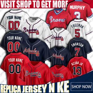 13 Ronald Acuña Jr. Jersey Ozzie Albies Atlanta Braves Béisbol personalizado jerseys Freddie Freeman Dale Murphy Dansby Swanson Ender Inciarte