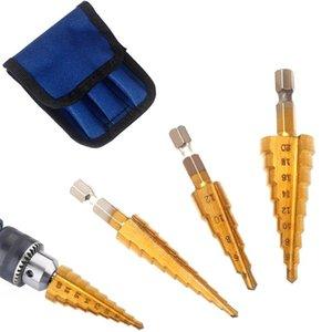 Adeeing Hexagonal Shank Straight Groove HSS Stepped Cone Drill Bit Set Hole Cutter 3-12MM 4-20MM 4-12MM 3PCS Set