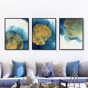 3 Panels Abstract Wall Art Blue Gold Tree Round Nordic Canvas Painting Poster Prints Picture for Living Room Modern Home Decoration